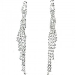 Twist Tassel Fringe Clear Diamante Long Drop Duster Earrings