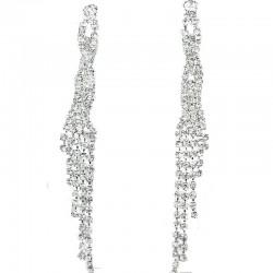 Twist Tassel Fringe Clear Diamante Long Drop Duster Earrings