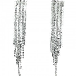 Rectangle Fringe Dangle Clear Diamante Long Drop Duster Earrings