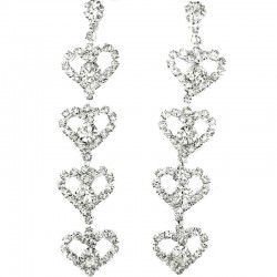 Dangle Heart Clear Diamante Long Drop Earrings
