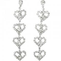 Dangle Heart Clear Diamante Long Drop Earrings