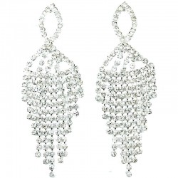 Teardrop Fringe Dangle Clear Diamante Long Drop Earrings
