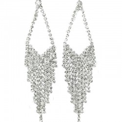 Wedding Costume Jewellery; Rhombus Fringe Dangle Clear Diamante Long Drop Earrings