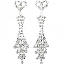 Heart Fringe Dangle Clear Diamante Long Drop Earrings