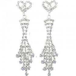 Heart Fringe Dangle Clear Diamante Long Drop Earrings