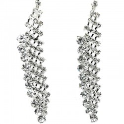 Wedding Costume Jewellery, Art Deco Dangle Clear Diamante Long Drop Earrings