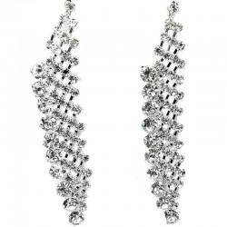 Wedding Costume Jewellery, Art Deco Dangle Clear Diamante Long Drop Earrings