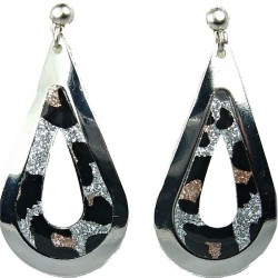 Animal Leopard Print Silver Plated Open Teardrop Earrings