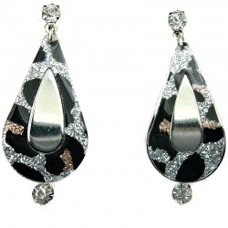 Trendy Costume Jewellery, Chic Fashion Animal Leopard Print Silver Plated Teardrop Clear Diamante Drop Earrings