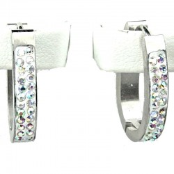 Clear AB Diamante White Enamel Silver Oval Hoop Earrings
