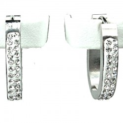 Clear Diamante White Enamel Silver Oval Hoop Earrings