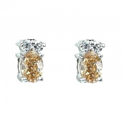Crystal Costume Jewellery, Brown Oval CZ Fashion Dainty Stud Earrings