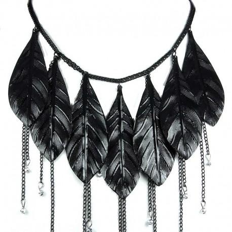 Fashion Large Black Metal Chunky Leaf Drop Costume Statement Cascade Necklace