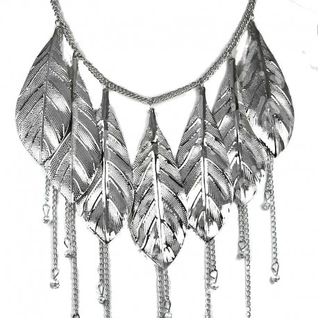 Fashion Large Silver Metal Chunky Leaf Drop Statement Costume Cascade Necklace