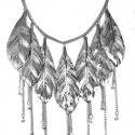 Large Silver Metal Leaf Drop Statement Cascade Necklace