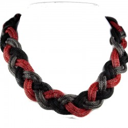 Fashion Red Black Antique Silver Multi-Chain Plaited Chain Costume Necklace