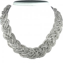 Silver Multi-Chain Plaited Chain Fashion Necklace