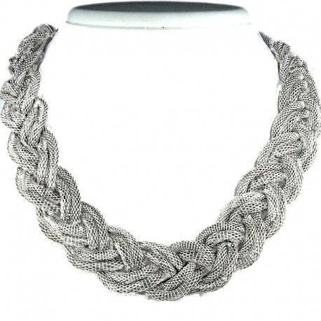 Chic Silver Multi-Chain Plaited Chain Fashion Necklace