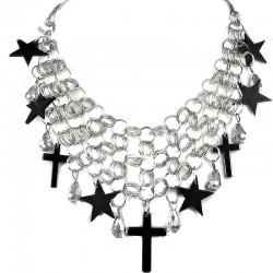 Fashion Black Star & Haematite Cross Statement Chain Cascade Costume Necklace