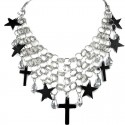 Black Star & Haematite Cross Statement Cascade Chain Necklace
