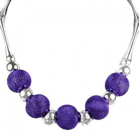 Purple Chic Mesh Ball Fashion Costume Necklace