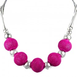 Chic Hot Pink Mesh Ball Fashion Cool Costume Necklace