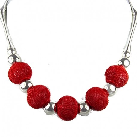 Chic Red Mesh Ball Cool Fashion, Costume Jewellery Necklace