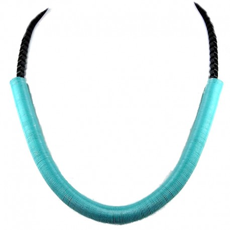 Blue Spring Coil Tube Black Chain Cool Fashion, Costume jewellery Necklace