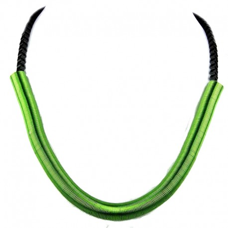 Green Spring Coil Tube, Black Chain, Cool Fashion, Costume Jewellery Necklace