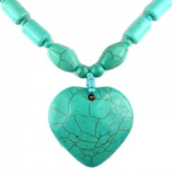 Turquoise Natural Stone Heart Beaded Necklace