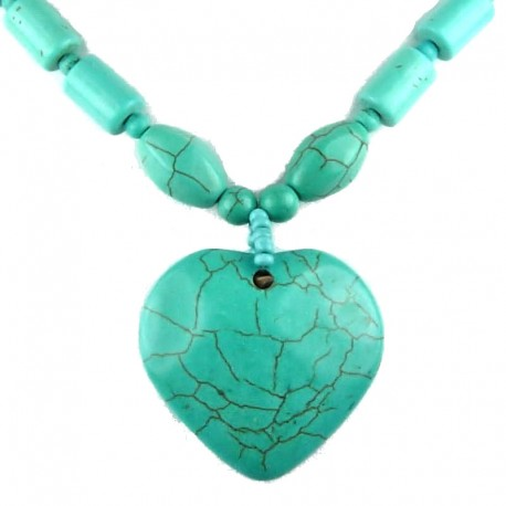 Costume Jewellery; FashionTurquoise Natural Stone Heart Beaded Necklace