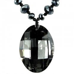 Fshion Black Grey Oval Rhinestone Pendant, Costume Jewellery Bead Necklace