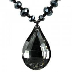 Fashion Black Grey Teardrop Rhinestone Pendant, Handmade Costume Jewellery Bead Necklace