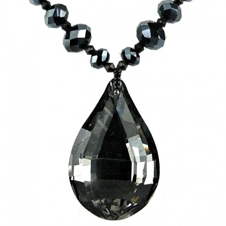 Fashion Black Grey Teardrop Rhinestone Pendant, Handmade Costume Jewellery Bead Necklace
