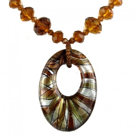 Brown Venetian Glass Oval Pendant Fashion Bead Necklace