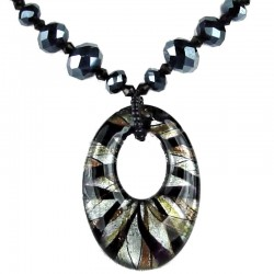 Costume Jewellery Black Venetian Glass Oval Pendant, Beaded Necklace