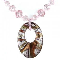 Lady Pink Venetian Glass Oval Pendant, Costume Jewellery Bead Necklace