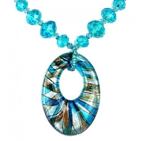 Costume Jewellery Aqua Blue Venetian Glass Oval Pendant, Fashion Bead Necklace