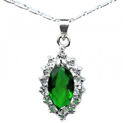 Costume Jewellery Emerald Green Navette Rhinestone Pendant & Fashion Chain Necklace