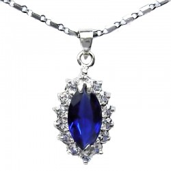 Costume Jewellery Royal Blue Navette Rhinestone Clear Diamante Teardrop Pendant & fashion Chain Necklace