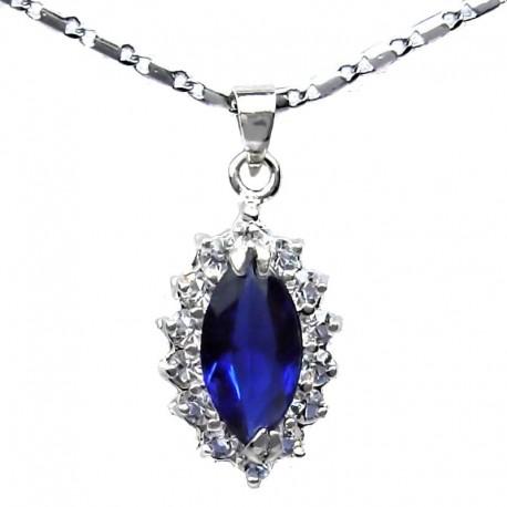 Costume Jewellery Royal Blue Navette Rhinestone Clear Diamante Teardrop Pendant & fashion Chain Necklace