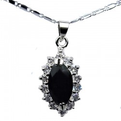 Costume Jewellery Chain Necklace with Black Navette Rhinestone Clear Diamante Teardrop Pendant