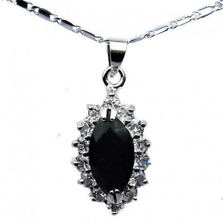 Costume Jewellery Chain Necklace with Black Navette Rhinestone Clear Diamante Teardrop Pendant