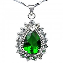Costume Jewellery Fashion Chain with Emerald Green Teardrop Rhinestone Clear Diamante Pendant