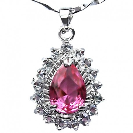 Pink Teardrop Rhinestone Clear Diamante Pendant with Costume Jewellery Chain Necklace