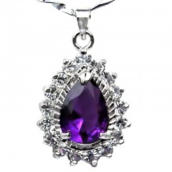 Purple Teardrop Rhinestone Clear Diamante Pendant with Costume Jewellery Chain Necklace
