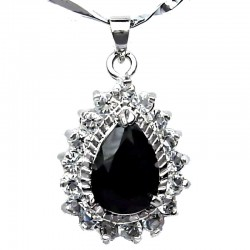 Black Teardrop Rhinestone Clear Diamante Pendant with Costume Jewellery Chain Necklace