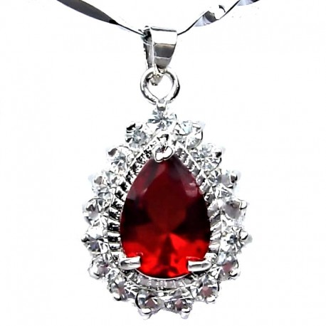 Ruby Red Teardrop Rhinestone Clear Diamante Pendant & Fashion Jewellery Costume Chain