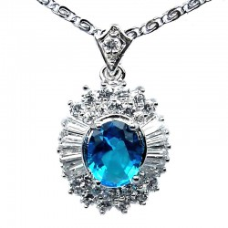 Costume Jewellery Necklaces, Fashion Pendants UK, Women Gifts, Blue Oval Cubic Zirconia Clear CZ Halo Cluster Pendant Necklace