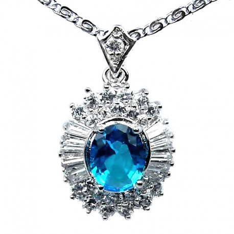 Blue Oval Cubic Zirconia CZ Classy Pendant with Costume Jewellery Fashion Chain
